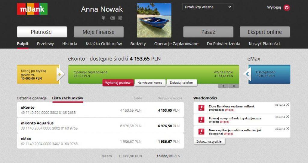 mbank bankowość internetowa wygląd