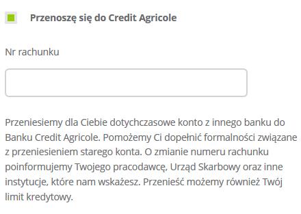 credit agricole przeniesienie konta