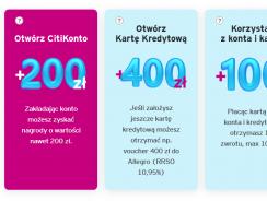 Promocje Citibank: Łatwe 200 zł za konto i 100 zł za płatności (+ 400 zł za kartę )