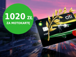 Motokarta BP Citibanku z premią 300 zł i money-backiem do 720 zł